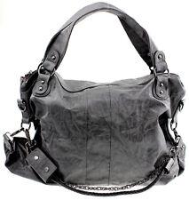 Damen Handtasche gross XXL Designer Look Basic Schultertasche Schwarz Grau Braun