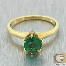 1880s Antique Victorian 14k Solid Yellow Gold .92ct Emerald Solitaire Ring