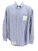 Scotland Yard Boathouse Button Up Long Sleeve Shirt Blue Striped Mens XL Regular