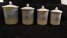 Belle série de 4 pots à épices en porcelaine Aluminite Frugier, TBE