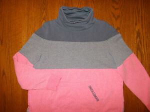 UNDER ARMOUR COLD GEAR PINK & GRAY LONG SLEEVE HI-NECK SWEATSHIRT GIRLS XL EXC.