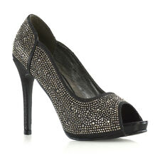 Womens Diamante Party Shoes Ladies Platform PEEP Toe Bridal Evening Dressy HEELS UK 3 / EU 36 / US 5 Black