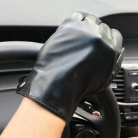 Men's 360° Smart Touch Screen Gloves Genuine Lambskin Leather Lined Black