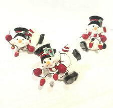 Fitz and Floyd Christmas Cheers Snowman Figurines In Box