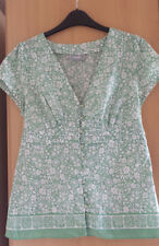 WALLIS GREEN & WHITE COTTON BUTTON FRONT TUNIC TIES TO BACK CAP SLEEVE SIZE 12