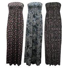 Ladies Stripe Floral Strapless Shirring Bandeau Women Maxi Dress Plus Sizes 8-22