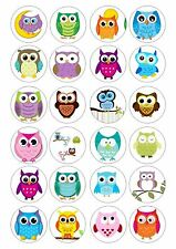 24 Owl  Owls Cupcake Topper  Wafer / RIce Paper Edible Fairy Cake Bun Toppers