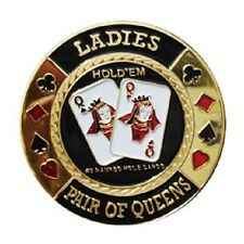 Poker Card Guard LADIES Pair Of Queens doré jeton carte