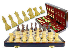 "Weighted Chess Set Pieces 3"" Popular Staunton + Folding Chess Board 16"" Rosewood"