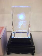 """SET OF 2 SOLID GLASS 3-1/8""""x2""""  LASER ETCHED MOUSE I LOVE YOU W LIGHT UP STND"""