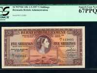 Bermuda:P-18b,5 shillings ,1957 * Queen Elizabeth * PCGS Superb Gem UNC 67 PPQ *