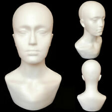 "15"" Polystyrene Foam Men Mannequin Display Head Bust Shoulder Realistic Wig"