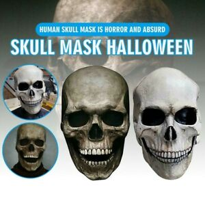 Full Head Skull Latex Mask Helmet With Movable Jaw Halloween Party Cosplay Prop