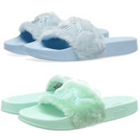PUMA Womens Sliders Faux Fur Mint Green Blue Ladies Rihanna Sandals Slippers