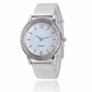 Fashion Women Crystal Sliver Stainless Steel Analog Quartz Wrist Watch Bracelet