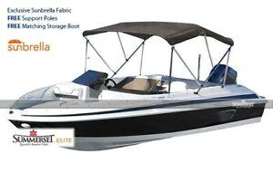Summerset Elite Sunbrella 3 Bow Boat Bimini UV and Mildew Resistant - Full Kit