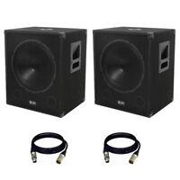 "2 x QTX QT18SA 2000W 18"" Powered Active DJ PA Subwoofer Bass Bin Speaker + Leads"