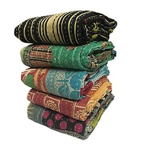 Indian Handmade Vintage Kantha Quilt Reversible Throw Old Railli Gudri Lot