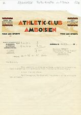 Dépt 37 - Amboise - Belle Entête Rare Athletic Club Amboisien du 22/01/1936