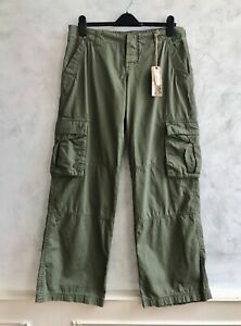 NEW+TAGS - ANIMAL Ladies Khaki Green 100% Cotton Cargo Combat Trousers £55  M 12