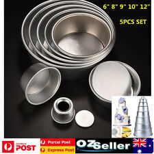 5 Tier Round Cake Tin Pan Set  Multi Layer Wedding Cake Mold 6/8/9/10/12''