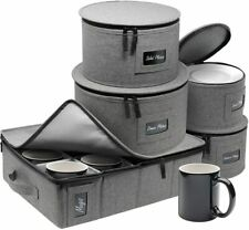 Sturdy China Dinnerware Storage Set - Hard Shell Holder for Round Plates & Cups