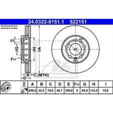 ATE 2x Bremsscheiben belüftet beschichtet 24.0322-0151.1