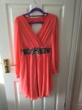 New Little Mistress Coral Pink Dress Evening Party Occasion Size 10
