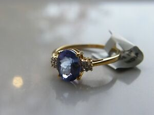 9ct Yellow Gold Tanzanite and Diamond Ring. R/S Medium / Large