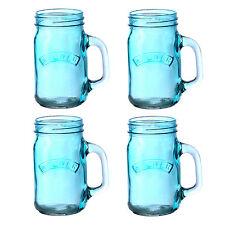 Kilner Set of 6 Handled Jars Mason Drinking Jar Juice Party Glass 400ml Blue