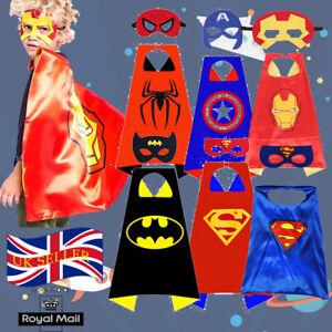 Superhero Cape & Mask Kids Halloween Cosplay Double Side Best Gifts Spiderman*UK