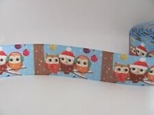 Christmas Owls 1 inch Grosgrain Ribbon Blue
