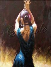 FLAMENCO DANCER SPANISH DANCE BLUE COSTUME GYPSY VINTAGE *CANVAS* ART PRINT
