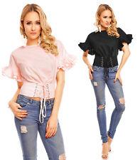 Voyelles Damen Top Pullover Bluse Sweatshirt Oberteil T-Shirt weite Ärmel L537