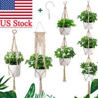 Garden Plant Hanger Macrame Hanging Plant Basket Rope Pot Holder In/Outdoor
