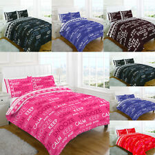 Complete Duvet Cover Set With Fitted Valance Sheet Single Double King Keep calm