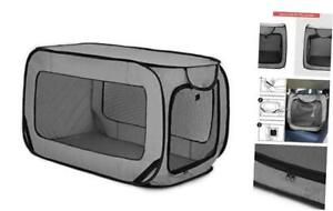 Portable Large Dog Bed - Pop Up Dog Kennel, Indoor Outdoor Crate for 36in Grey
