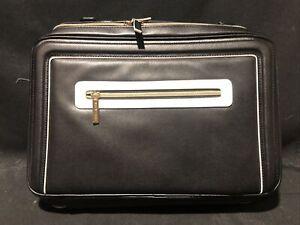 Estee Lauder Faux Cosmetic Makeup Bag Travel Train Case With handle Black
