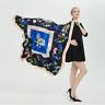 Seide großes Tuch Rundschal 130cm Glanz Seidentuch Poncho für Frauen Damen N35