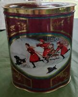 """Vintage Classic Victorian Children Tin 7"""" tall made in England Burgundy gold"""