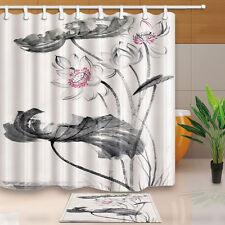 "Lotus flower watercolor painting Shower Curtain Bathroom Fabric & 12Hooks 71*71"""