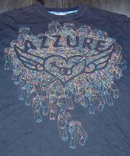 AZZURE DENIM JEANS SHIRT Multi Color Stitched Design Size XL STREETWEAR HIP HOP