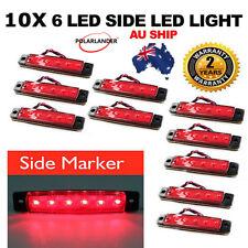 10 X RED 6 LED Side Marker Indicator Truck Light AU Ship Vans Truck Trailer Bus