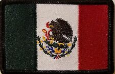 MEXICO Flag Patch W/ VELCRO®  Brand Fastener Morale Tactical Emblem BLACK Border