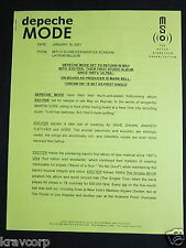 Depeche Mode 'Exciter Announced' 2001 Press Release