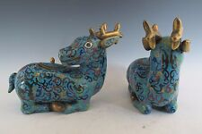 Chinese Blue Bronze Deer Statue Jar w/ Lids set of 2 intricate pattern Figurines