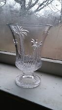 Cut Glass Vase Palm Tree Accent