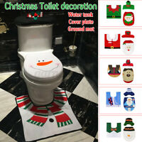 3PCS/Set Christmas Decoration Santa Toilet Seat & Cover Rug Bathroom Xmas Decor