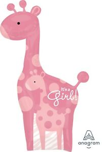 "Supershape 42"" It's a Girl pink Giraffe foil baby shower gender reveal balloon"