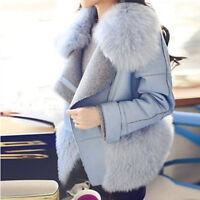 Fashion Womens Outwear Winter Faux Fox Fur Collar Wool Jacket Coat Trench Parkas